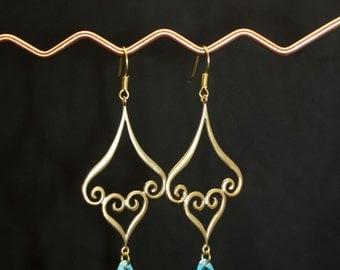 Persian Style Baby Blue Czech Crystal Teardrop Gold Plated Headcrafted Earrings