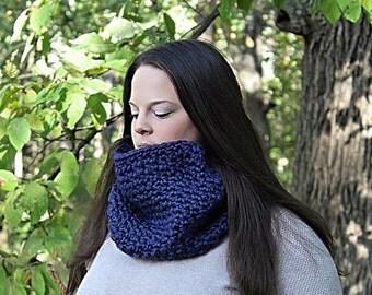 Navy Blue Scarf, Blue Neckwarmer, Blue Infinity Scarf, Blue Loop Scarf, Blue Winter Scarf, Blue Crochet Scarf, Blue Chunky Scarf, THE AMELIA