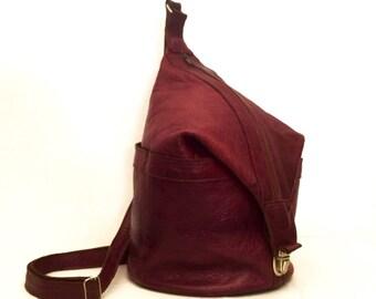 Vintage Sling Backpack Leather Bucket Bag