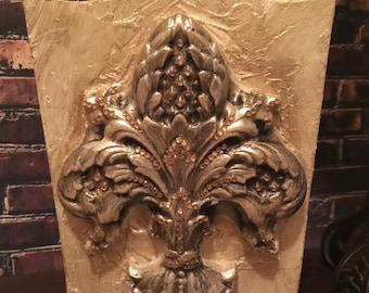 Embellished Wooden Waste Basket with Fleur de Lis