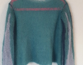 Glacier Kid Mohair and Silk Cropped Reversible Jumper