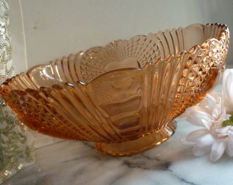 Dark Orange Depression Diamond Cut Glass Bowl