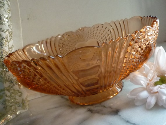 Dark Orange Depression Diamond Cut Glass Bowl with Hearts & hobnails, Christmas dinner, fruit bowl, housewarming, wedding, Christmas Gift