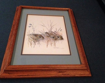 Something Different Oak & Art  Matted Wildlife (Three Bunnies)