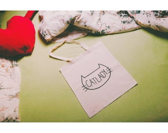 Cat lady | hand printed | TOTE BAG