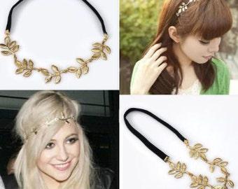 Gold olive leaf headband
