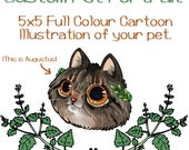 Custom cartoon pet portraits - made to order