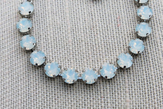 Swarovski crystal bracelet in white opal, empty cup chain bracelet