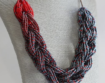 Multi strand necklace Seed bead necklace Jeans necklace Braided necklace Red and blue necklace Bead necklace Dark blue chain necklace denim