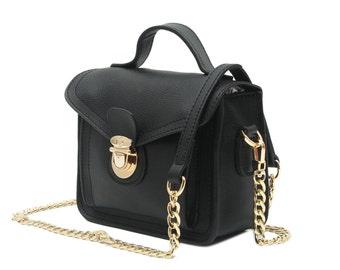 Satchel bag, black satchel, black leather bag, shoulder satchel, satchel strap