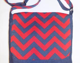 Chevron Messenger Bag/ Navy Blue Bag, 15% Off Free Domestic Shipping