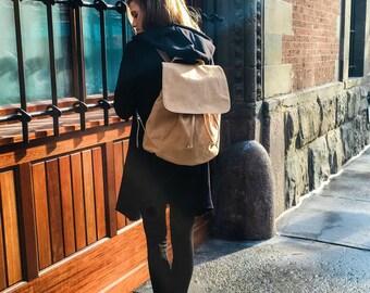 Suede Backpack, Leather Backpack, Beige Backpack, School Backpack, Vegan Backpack, Vegan Leather, Vegan Suede, Shoulder Bag