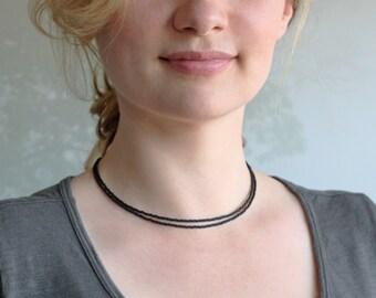 black choker, double layer choker, small bead, delicate bead choker, short layer necklace, black necklace, black bead necklace,black choker