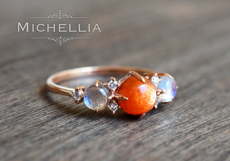14k 18k Sunstone Moonstone Labradorite Ring With Diamond Gold