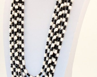 Multi strand chunky pearl necklace