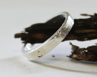 Thin Silver Ring, Elegant simple Band, Rustic Sterling Silver Ring, Sand Cast Ring, Textured Wedding Ring.