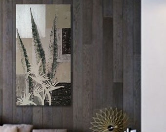 """Painting Zen Flowers bird of paradise flower and agave, 20x 44"""",Natural Floral Art"""