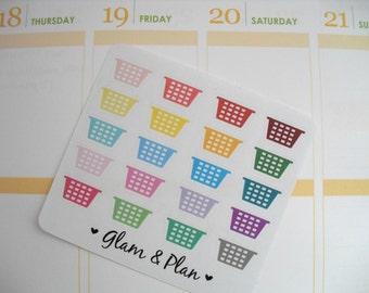 16 Laundry Basket Planner Stickers | Erin Condren Filofax Happy Planner