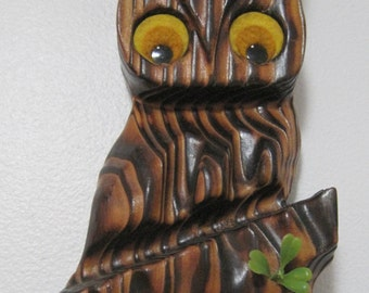 Redwood OWL Wall Hanging, Vintage