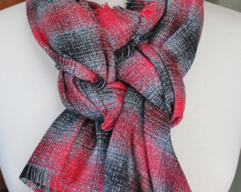 Red and Grey Plaid Flannel Scarf