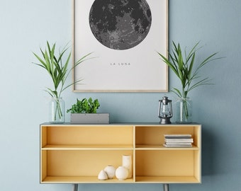 La Luna Print, Moon Poster, La Luna Wall Art, La Luna, Full Moon Print, Moon Art Print, La Luna Printable, Full Moon Printable