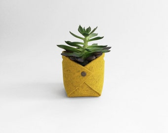 Fabric Planter | Wool Felt Plant Holder | Felt Basket