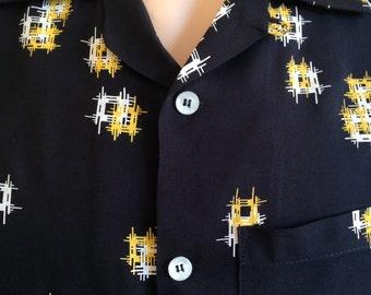 Vintage style 1950's geometric print rayon shirt