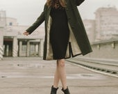 Women coat, green coat, women wool coats, autumn wool coat, spring wool coats