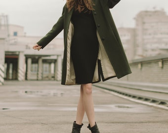 Woman coat, green coat, wool coat, autumn coat, spring coat