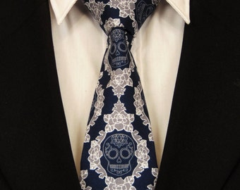 Skull Necktie, Skull Tie, Navy Skull Necktie, Navy Skull Tie, Candy Skull Necktie, Candy Skull Tie, Sugar Skull Necktie, Sugar Skull Tie