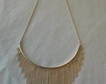 Vintage Italian fringe beaded-chain bib necklace 925