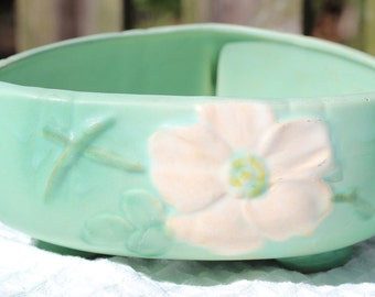 Weller Green Wild Rose Tri-Corner Planter circa 1940s