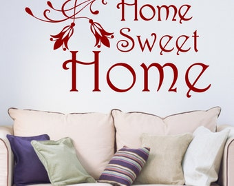Home Sweet Home Floral Vinyl Wall Art Sticker Decal Living Room Hallway Kitchen