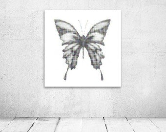 Butterfly digital print, Halftone, Colourful Dots, blue green yellow and pink