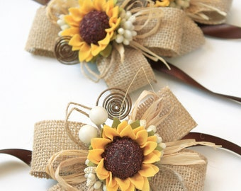 2 Sunflower Wedding Rustic Corsages, Bridesmaids Burlap Sunflower Bracelets, Mothers Sunflower Brown Rustic Wedding Wrist Girl Accessories