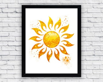 Sun Watercolor print, Sun Printable Wall Art, Sun wall decor, Sun home decor, Sun poster