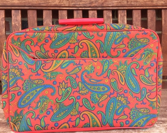 Vintage Paisley Suitcase from the 1960's. Made in Japan, Carry on, Bag, Red, Green, Turquoise.