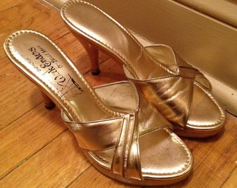 Chic Gold 50s Mules Wood Platform and Stiletto Heel Sandals 7.5-8