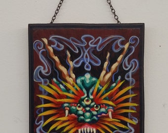 Japanese dragon acrylic painting wood plaque