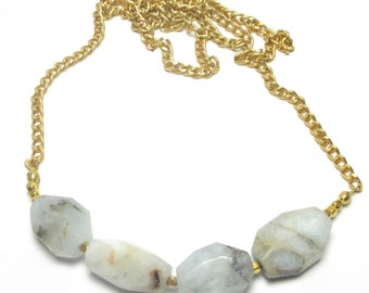 Long aquamarine necklace - Natural stone necklace
