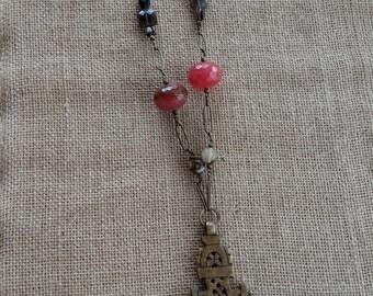 Cross brass statement necklace