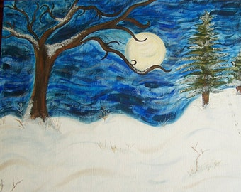 Original Acrylic Tree Painting, Winter Night Painting, 16x20 canvas panel.  Title: Moonlight In The Woods