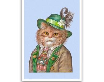 Mister Bavaria - Cat Art Print - Cat Gifts and Cat Wall Decoration - Bavarian, Oktoberfest - Cat Portraits by Maria Pishvanova