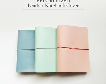 FREE SHIPPING Handmade Leather Traveler's Notebook Cover /Midori style notebook cover/Baby Blue/Carol Pink/Mint / Leather Journal / Fauxdori