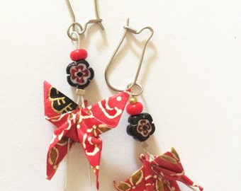 Origami - paper red earrings