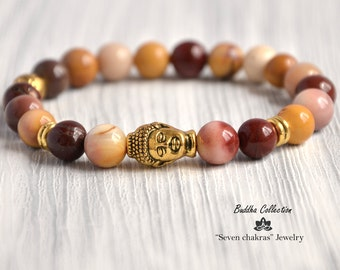 Moukaite Beaded Yoga bracelet Gemstone Jewelry for men or women 8mm Mala Beads Buddha Bracelet