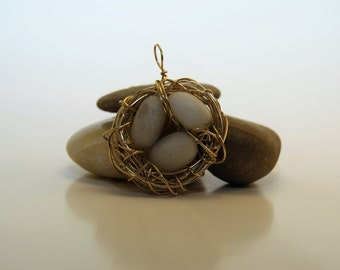 Wire Wrap Birds Nest Pendant