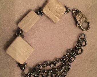 Cream Marble Gunmetal Bracelet