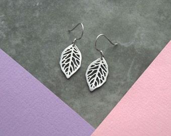 Sterling leaf stud earrings, leaf earrings, woodland wedding earrings, bridesmaid earrings gift, girlfriend gift, bridesmaid earring gift