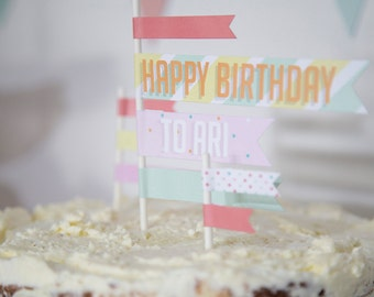 Printable Files: Custom Waving Flag Cake Toppers - Pastel Collection
